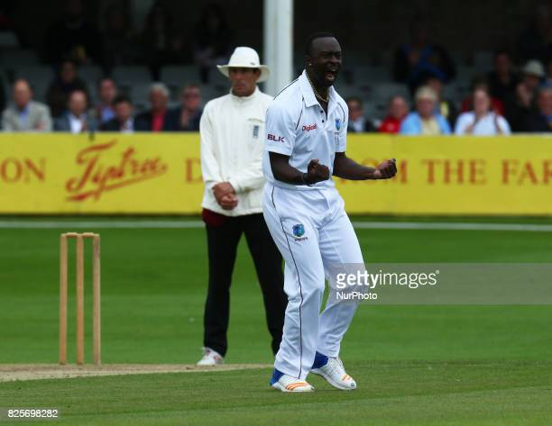 Kemar Roach of West Indies celebrate the wicket of Essex's Daniel Lawrence during the Domestic First Class Multi Day match between Essex and West...