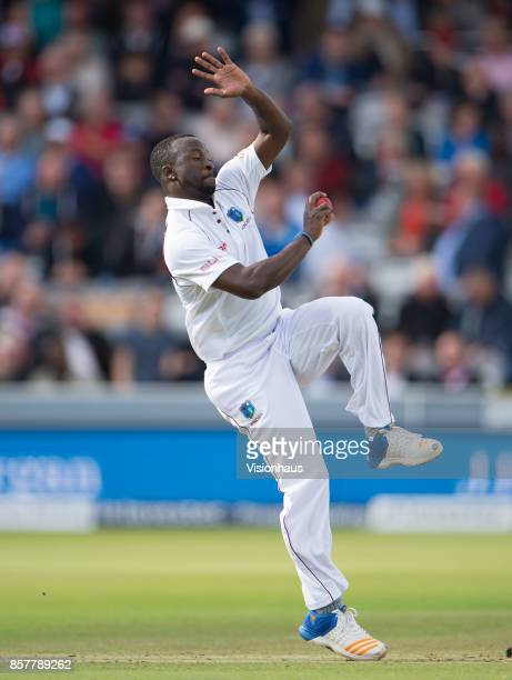 Kemar Roach of West Indies during Day Two of the 3rd Investec Test Match between England and West Indies at Lord's Cricket Ground on September 8 2017...