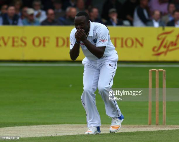 Kemar Roach of West Indies during the Domestic First Class Multi Day match between Essex and West Indies at The Cloudfm County Ground in Chelmsford...