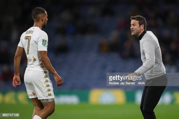 Kemar Roofe of Leeds United and Thomas Christiansen manager / head coach of Leeds United during the Carabao Cup Third Round match between Burnley and...