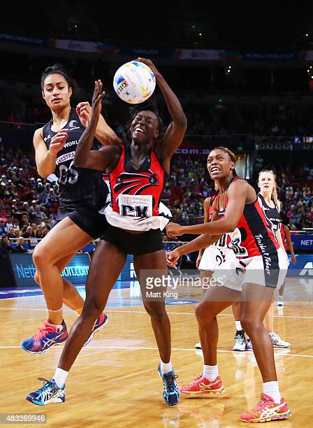 Kemba Duncan of Trinidad Tobago is challenged by Malia Paseka of New Zealand during the 2015 Netball World Cup match between New Zealand and Trinidad...