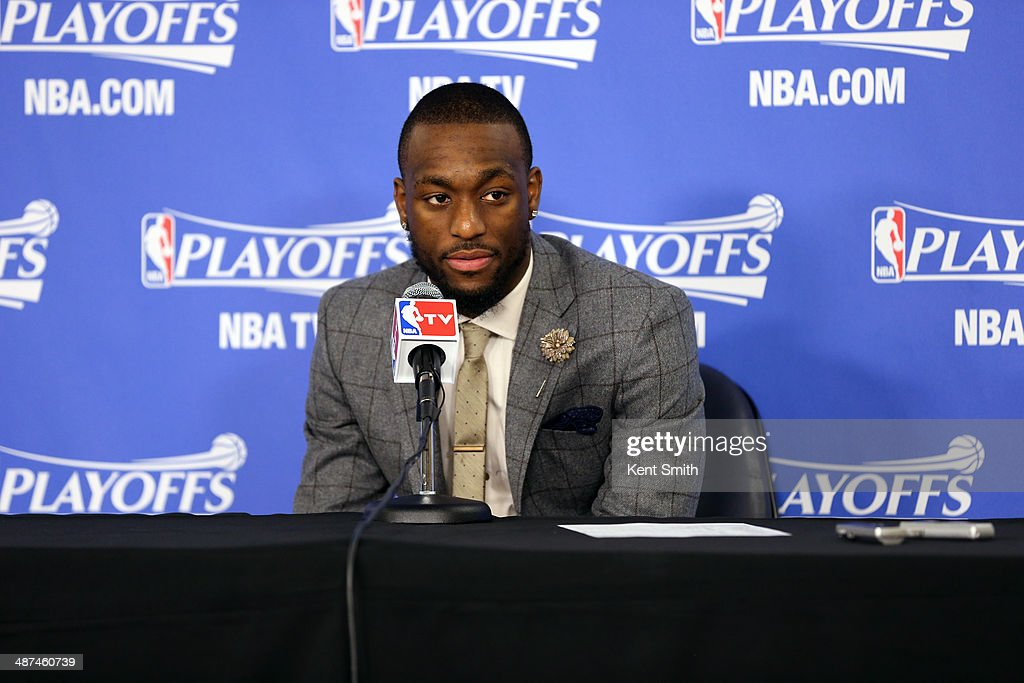 Kemba Walker #15 of the Charlotte Bobcats addresses the media after Game Four of the Eastern Conference Quarterfinals against the Miami Heat in the 2014 NBA Playoffs at the Time Warner Cable Arena on April 28, 2014 in Charlotte, North Carolina.