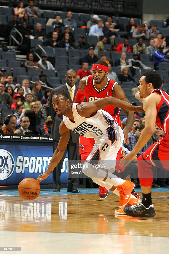 Kemba Walker #15 of the Charlotte Bobcats brings the ball up court against the Atlanta Hawks at the Time Warner Cable Arena on January 23, 2013 in Charlotte, North Carolina.