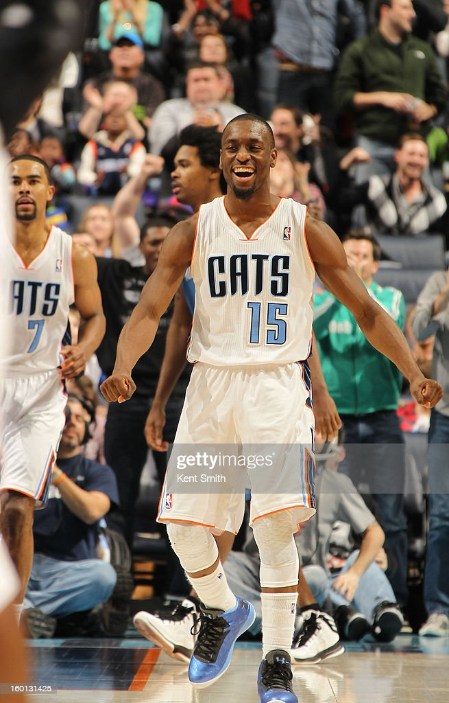 Kemba Walker #15 of the Charlotte Bobcats celeberates during the game against the Minnesota Timberwolves at the Time Warner Cable Arena on January 26, 2013 in Charlotte, North Carolina.