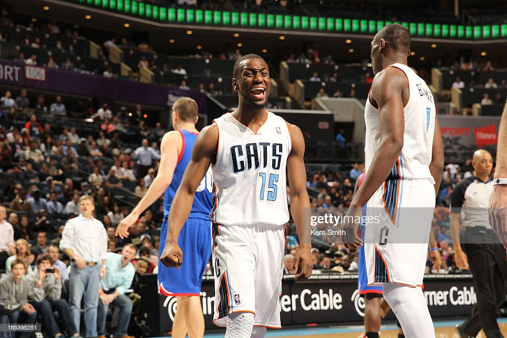 Kemba Walker #15 of the Charlotte Bobcats celebrates during the game against the Philadelphia 76ers at the Time Warner Cable Arena on April 3, 2013 in Charlotte, North Carolina.
