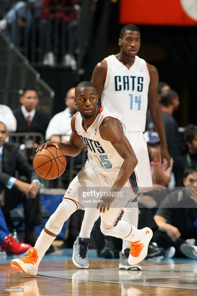 Kemba Walker #15 of the Charlotte Bobcats dribbles the ball up court against the Los Angeles Clippers at the Time Warner Cable Arena on December 12, 2012 in Charlotte, North Carolina.