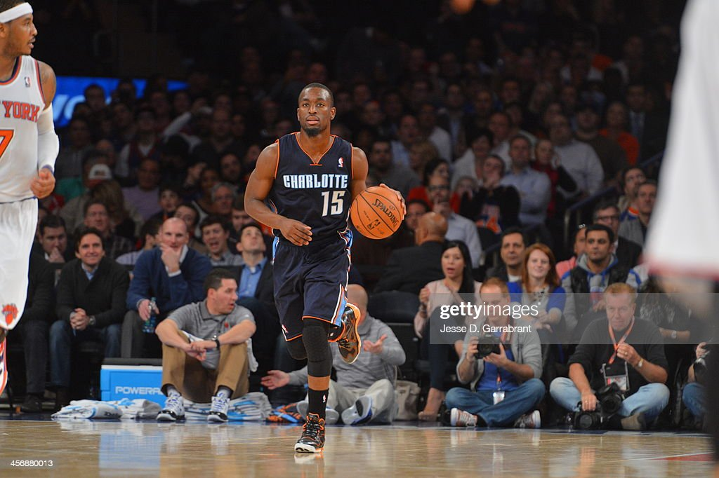 Kemba Walker #15 of the Charlotte Bobcats dribbles up the court against the New York Knicks during the game on November 5, 2013 at Madison Square Garden in New York City, New York.