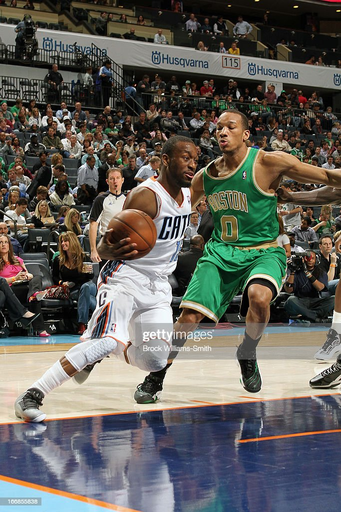 Kemba Walker #15 of the Charlotte Bobcats drives baseline against the Boston Celtics at the Time Warner Cable Arena on March 12, 2013 in Charlotte, North Carolina.