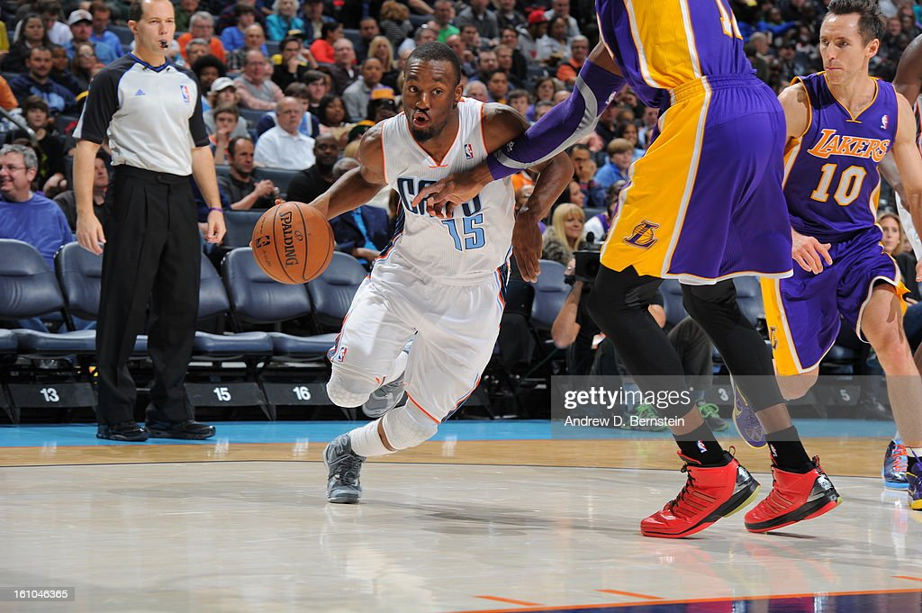 Kemba Walker #15 of the Charlotte Bobcats drives to the basket against the Los Angeles Lakers on February 8, 2013 at the Time Warner Cable Arena in Charlotte, North Carolina.