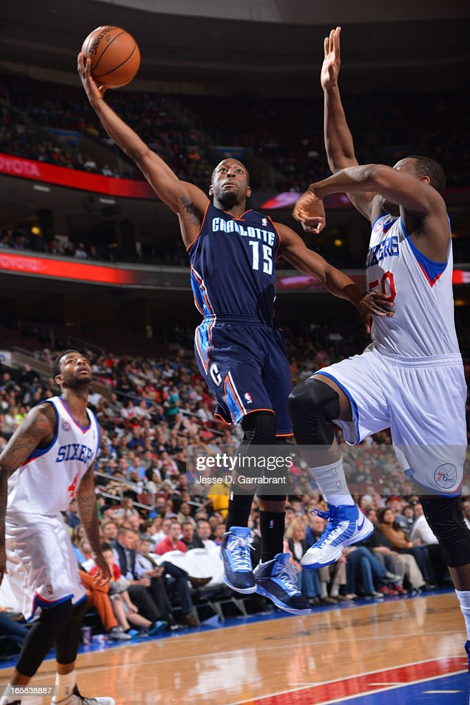 Kemba Walker #15 of the Charlotte Bobcats drives to the basket against the Philadelphia 76ers at the Wells Fargo Center on March 30, 2013 in Philadelphia, Pennsylvania.
