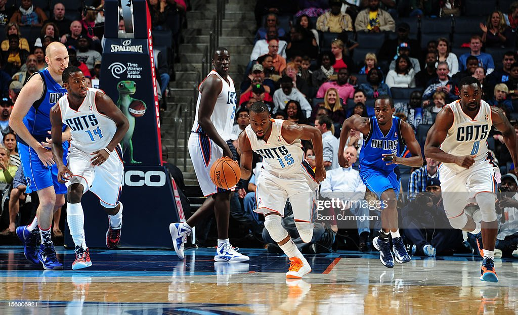 Kemba Walker #15 of the Charlotte Bobcats drives up the court against the Dallas Mavericks at Time Warner Cable Arena on November 10, 2012 in Charlotte, North Carolina.