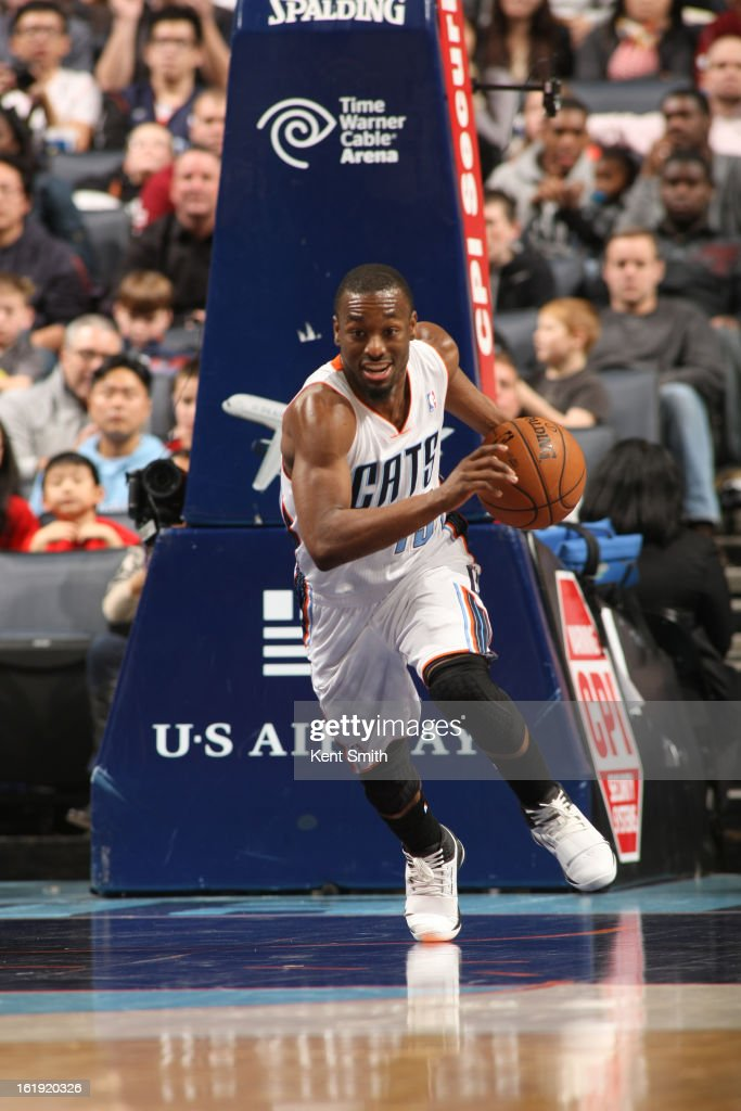 Kemba Walker #15 of the Charlotte Bobcats drives up-court against the Houston Rockets at the Time Warner Cable Arena on January 21, 2013 in Charlotte, North Carolina.