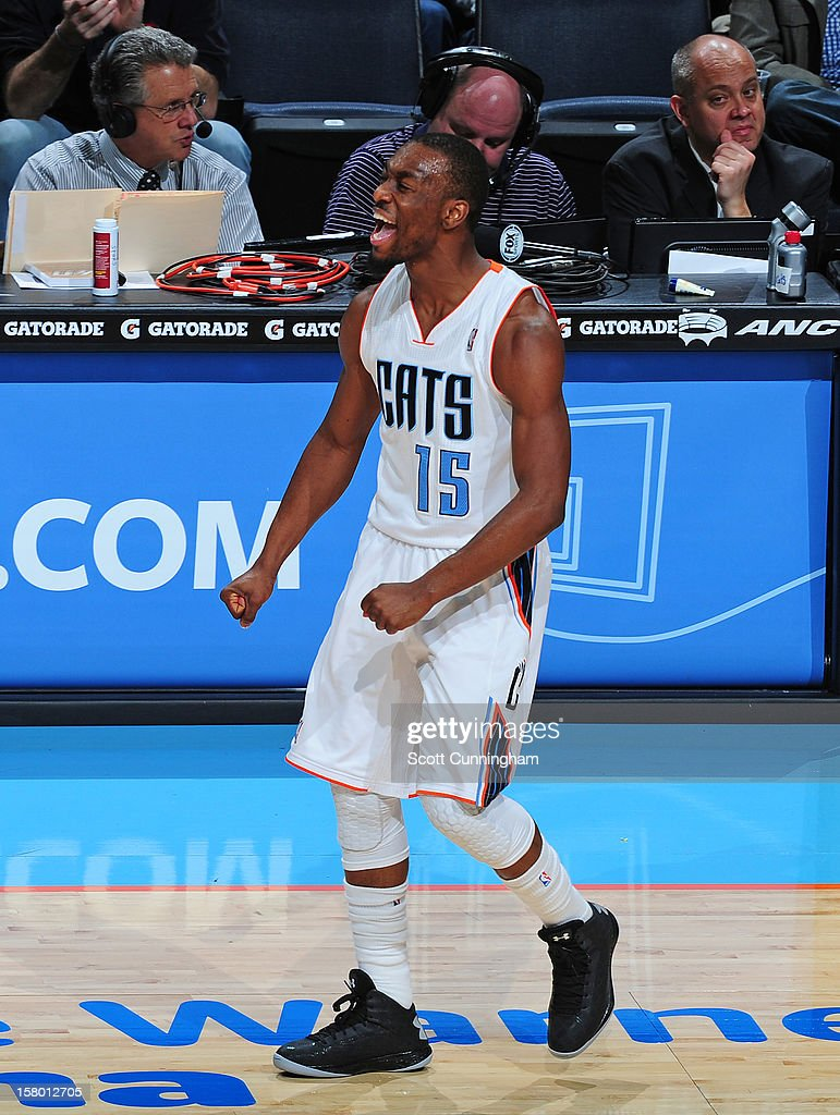 Kemba Walker #15 of the Charlotte Bobcats gets excited against the San Antonio Spurs at Time Warner Cable Arena on December 8, 2012 in Charlotte, North Carolina.
