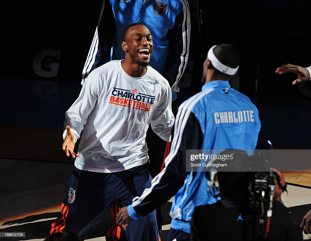 Kemba Walker #15 of the Charlotte Bobcats gets pumped up prior to the San Antonio Spurs game at Time Warner Cable Arena on December 8, 2012 in Charlotte, North Carolina.