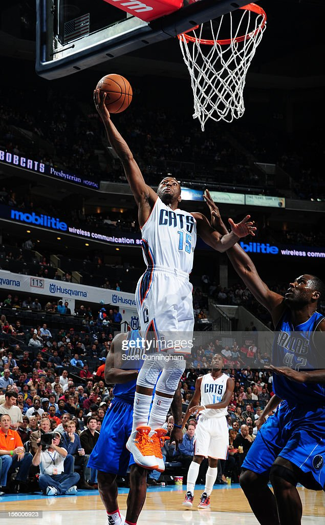 Kemba Walker #15 of the Charlotte Bobcats goes in for the easy basket against the Dallas Mavericks at Time Warner Cable Arena on November 10, 2012 in Charlotte, North Carolina.
