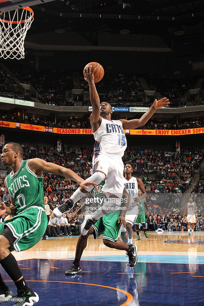 Kemba Walker #15 of the Charlotte Bobcats goes to the basket against the Boston Celtics at the Time Warner Cable Arena on February 11, 2013 in Charlotte, North Carolina.