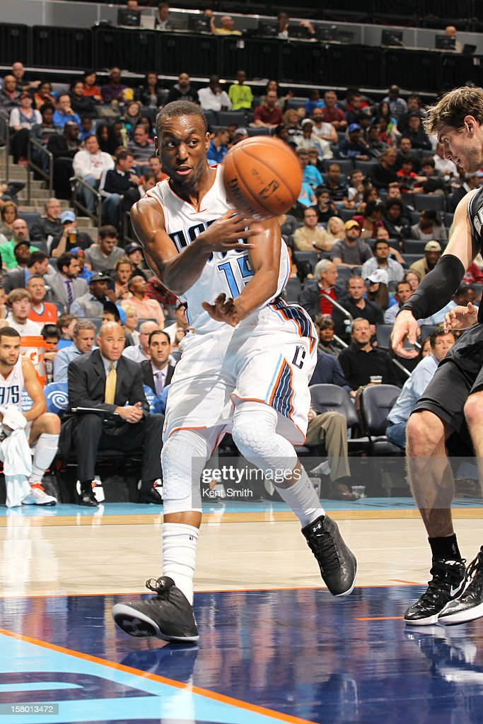 Kemba Walker #15 of the Charlotte Bobcats grabs the pass against the San Antonio Spurs at the Time Warner Cable Arena on December 8, 2012 in Charlotte, North Carolina.