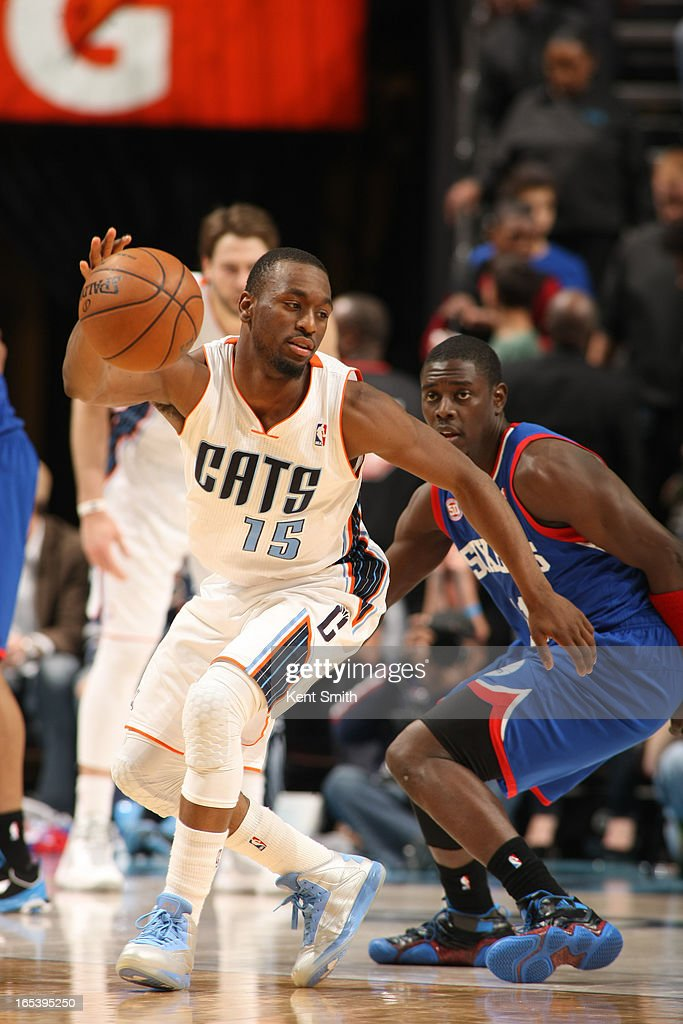 <a gi-track='captionPersonalityLinkClicked' href=/galleries/search?phrase=Kemba+Walker&family=editorial&specificpeople=5042442 ng-click='$event.stopPropagation()'>Kemba Walker</a> #15 of the Charlotte Bobcats handles the ball against <a gi-track='captionPersonalityLinkClicked' href=/galleries/search?phrase=Jrue+Holiday&family=editorial&specificpeople=5042484 ng-click='$event.stopPropagation()'>Jrue Holiday</a> #11 the Philadelphia 76ers at the Time Warner Cable Arena on April 3, 2013 in Charlotte, North Carolina.