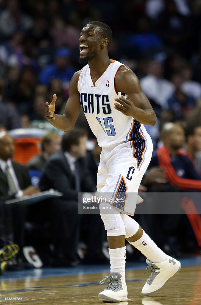 Kemba Walker #15 of the Charlotte Bobcats reacts to a call during their game against the Oklahoma City Thunder at Time Warner Cable Arena on March 8, 2013 in Charlotte, North Carolina.