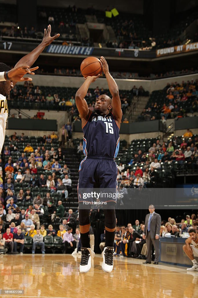 Kemba Walker #15 of the Charlotte Bobcats shoots a jumper against the Indiana Pacers on February 13, 2013 at Bankers Life Fieldhouse in Indianapolis, Indiana.