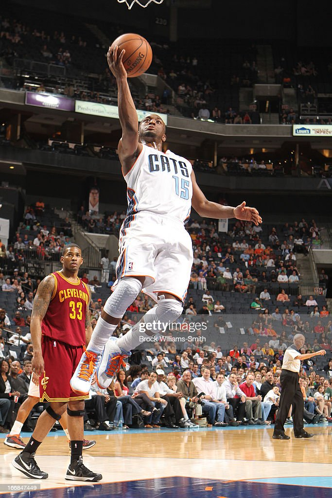 Kemba Walker #15 of the Charlotte Bobcats shoots a layup against the Cleveland Cavaliers at the Time Warner Cable Arena on April 17, 2013 in Charlotte, North Carolina.