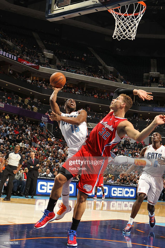 Kemba Walker #15 of the Charlotte Bobcats shoots against Blake Griffin #32 of the Los Angeles Clippers at the Time Warner Cable Arena on December 12, 2012 in Charlotte, North Carolina.