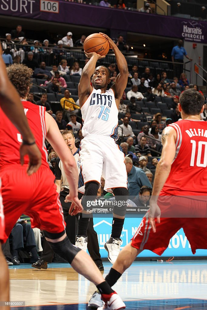 Kemba Walker #15 of the Charlotte Bobcats shoots against the Houston Rockets at the Time Warner Cable Arena on January 21, 2013 in Charlotte, North Carolina.