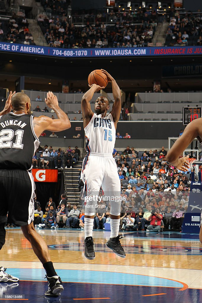 Kemba Walker #15 of the Charlotte Bobcats shoots against the San Antonio Spurs at the Time Warner Cable Arena on December 8, 2012 in Charlotte, North Carolina.