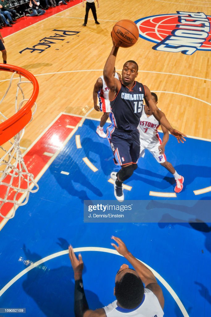 <a gi-track='captionPersonalityLinkClicked' href=/galleries/search?phrase=Kemba+Walker&family=editorial&specificpeople=5042442 ng-click='$event.stopPropagation()'>Kemba Walker</a> #15 of the Charlotte Bobcats shoots in the lane against the Detroit Pistons on January 6, 2013 at The Palace of Auburn Hills in Auburn Hills, Michigan.