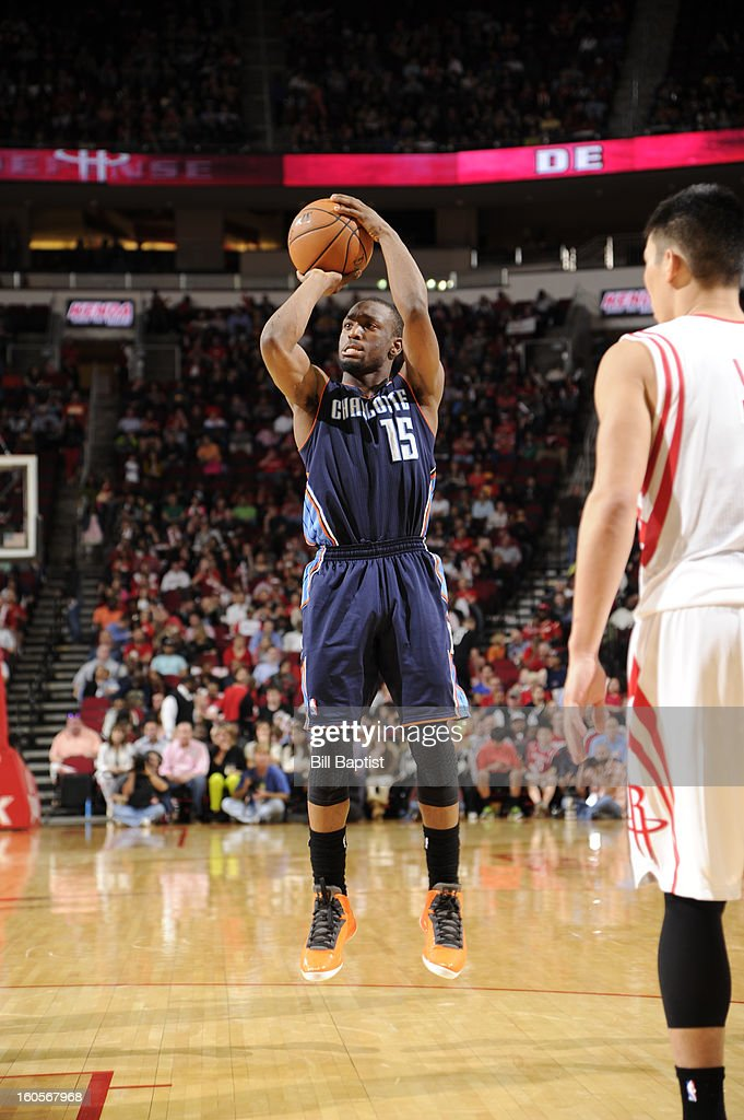 <a gi-track='captionPersonalityLinkClicked' href=/galleries/search?phrase=Kemba+Walker&family=editorial&specificpeople=5042442 ng-click='$event.stopPropagation()'>Kemba Walker</a> #15 of the Charlotte Bobcats shoots the ball against the Houston Rockets on February 2, 2013 at the Toyota Center in Houston, Texas.