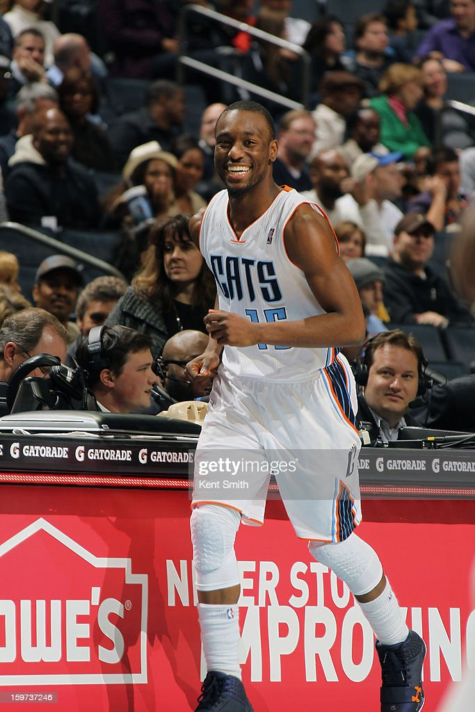Kemba Walker #15 of the Charlotte Bobcats smiles during the game against the Sacramento Kings at the Time Warner Cable Arena on January 19, 2013 in Charlotte, North Carolina.
