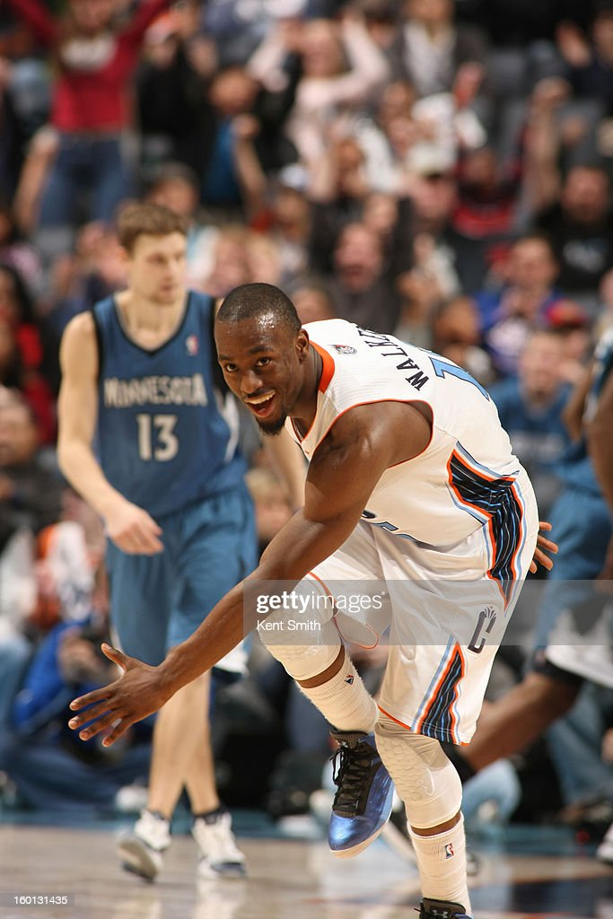 Kemba Walker #15 of the Charlotte Bobcats smiles during the game against the Minnesota Timberwolves at the Time Warner Cable Arena on January 26, 2013 in Charlotte, North Carolina.