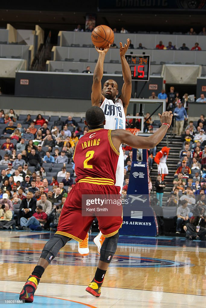 Kemba Walker #15 of the Charlotte Bobcats takes a shot against the Cleveland Cavaliers at the Time Warner Cable Arena on January 4, 2013 in Charlotte, North Carolina.