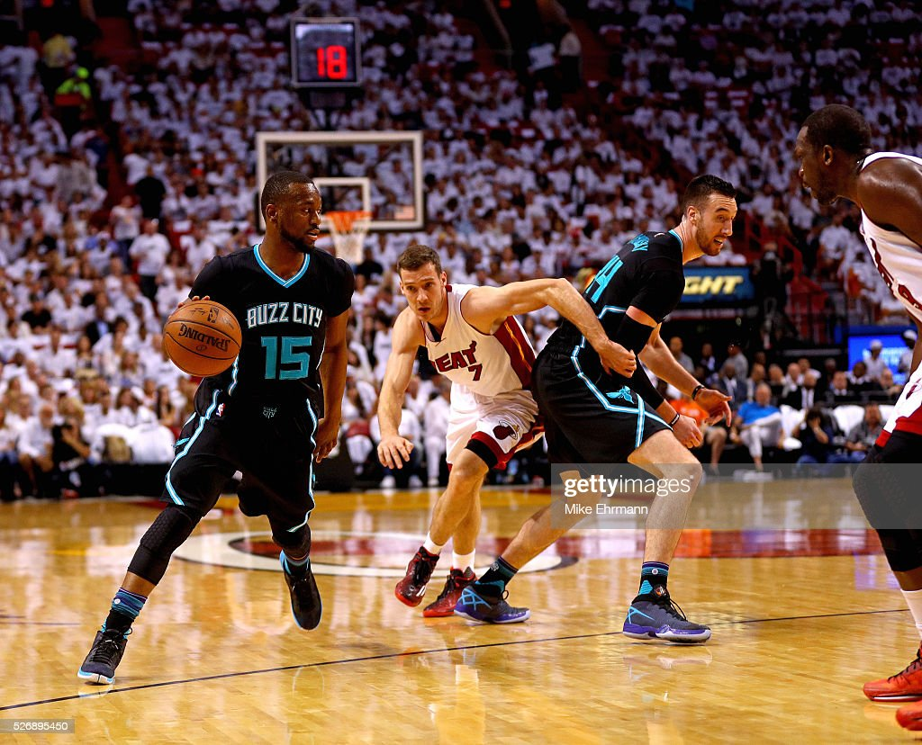 Kemba Walker #15 of the Charlotte Hornets drives on Joe Johnson #2 of the Miami Heat during Game Seven of the Eastern Conference Quarterfinals of the 2016 NBA Playoffs at American Airlines Arena on May 1, 2016 in Miami, Florida.