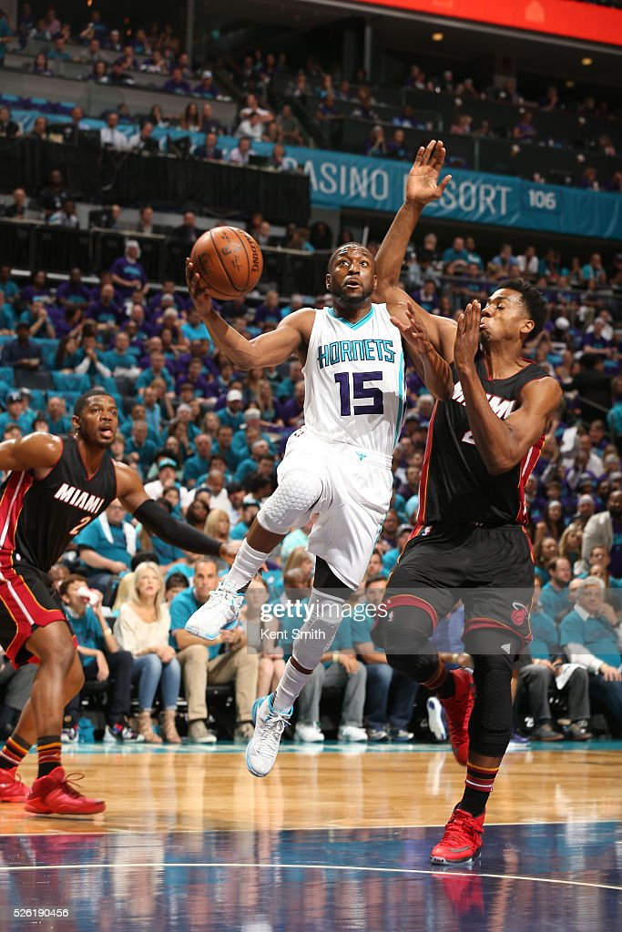 <a gi-track='captionPersonalityLinkClicked' href=/galleries/search?phrase=Kemba+Walker&family=editorial&specificpeople=5042442 ng-click='$event.stopPropagation()'>Kemba Walker</a> #15 of the Charlotte Hornets goes to the basket against the Miami Heat in Game Six of the Eastern Conference Quarterfinals during the 2016 NBA Playoffs on April 29, 2016 at Time Warner Cable Arena in Charlotte, North Carolina.