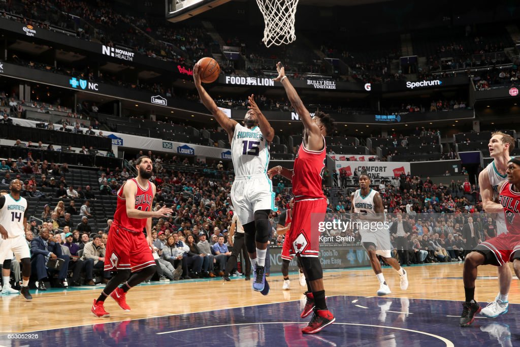Kemba Walker #15 of the Charlotte Hornets goes to the basket against the Chicago Bulls on March 13, 2017 at Spectrum Center in Charlotte, North Carolina.