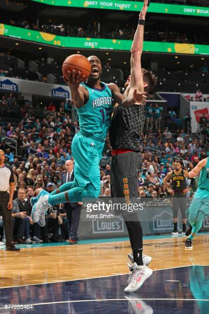 Kemba Walker of the Charlotte Hornets goes to the basket against the Atlanta Hawks on October 20 2017 at Spectrum Center in Charlotte North Carolina...