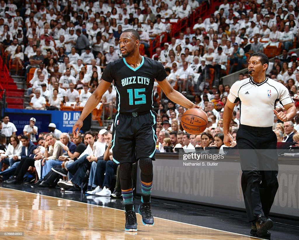 <a gi-track='captionPersonalityLinkClicked' href=/galleries/search?phrase=Kemba+Walker&family=editorial&specificpeople=5042442 ng-click='$event.stopPropagation()'>Kemba Walker</a> #15 of the Charlotte Hornets handles the ball against the Miami Heat in Game Seven of the Eastern Conference Quarterfinals during the 2016 NBA Playoffs on May 1, 2016 at American Airlines Arena in Miami, Florida.