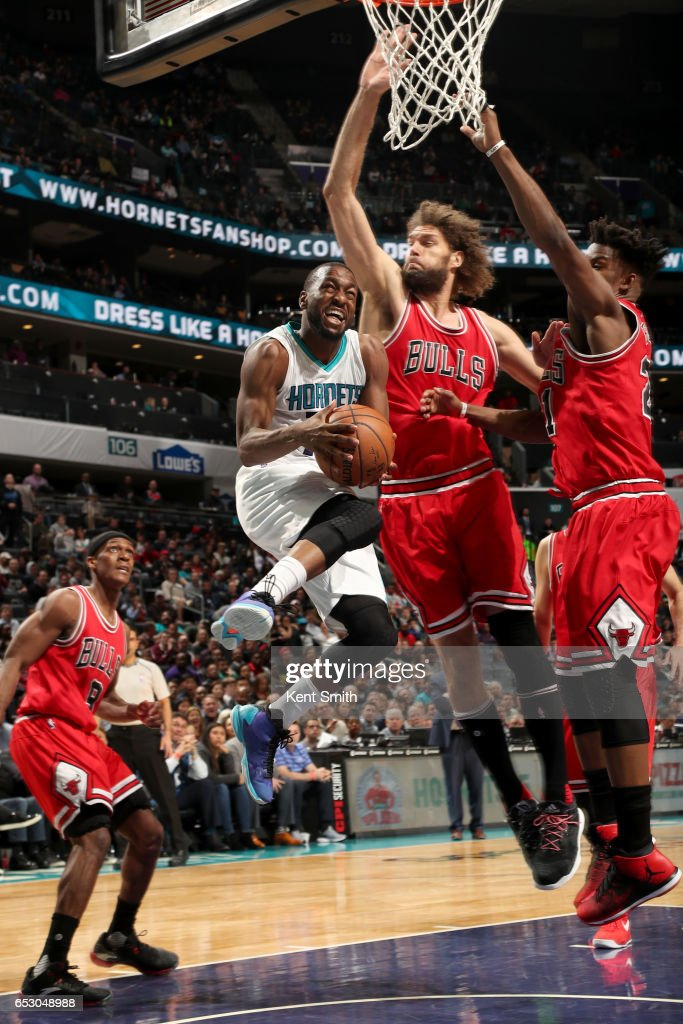Kemba Walker #15 of the Charlotte Hornets handles the ball against the Chicago Bulls on March 13, 2017 at Spectrum Center in Charlotte, North Carolina.