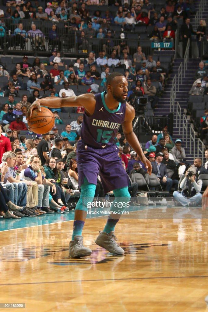 Kemba Walker #15 of the Charlotte Hornets handles the ball against the Detroit Pistons on February 25, 2018 at Spectrum Center in Charlotte, North Carolina.