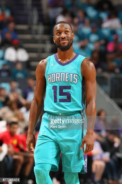 Kemba Walker of the Charlotte Hornets looks on during the game against the Atlanta Hawks on October 20 2017 at Spectrum Center in Charlotte North...