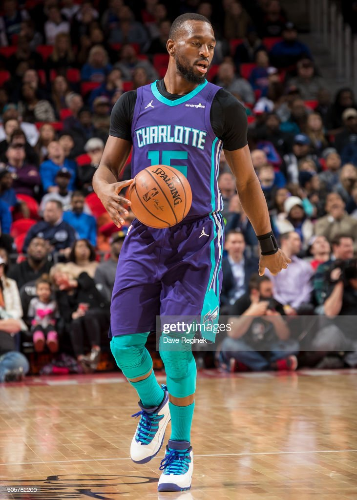 Kemba Walker #15 of the Charlotte Hornets moves the ball up court against the Detroit Pistons during the an NBA game at Little Caesars Arena on January 15, 2018 in Detroit, Michigan.