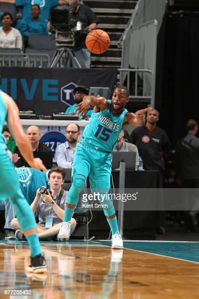 Kemba Walker of the Charlotte Hornets passes the ball against the Atlanta Hawks on October 20 2017 at Spectrum Center in Charlotte North Carolina...