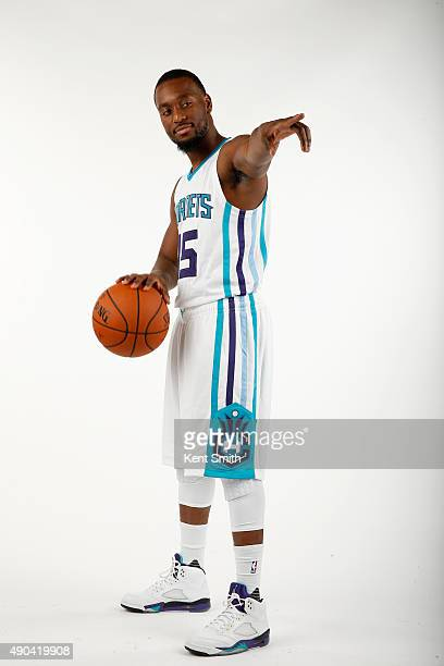 Kemba Walker of the Charlotte Hornets pose for media day at the Time Warner Cable Arena on February 4 2015 in Charlotte North Carolina NOTE TO USER...
