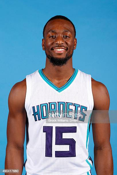 Kemba Walker of the Charlotte Hornets poses for media day at the Time Warner Cable Arena on February 4 2015 in Charlotte North Carolina NOTE TO USER...