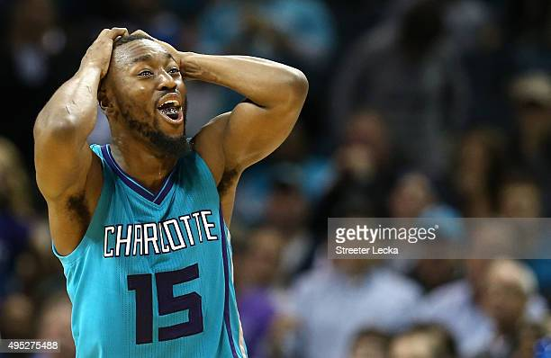 Kemba Walker of the Charlotte Hornets reacts after a play during their game against the Atlanta Hawks at Time Warner Cable Arena on November 1 2015...