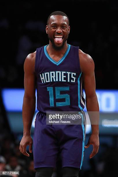 Kemba Walker of the Charlotte Hornets reacts after hitting a shot against the Brooklyn Nets during the second half at Barclays Center on November 4...
