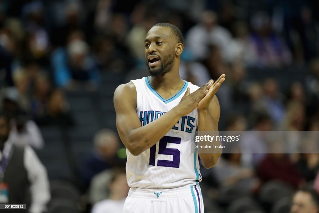 Kemba Walker #15 of the Charlotte Hornets reacts during their game against the Orlando Magic at Spectrum Center on March 10, 2017 in Charlotte, North Carolina.