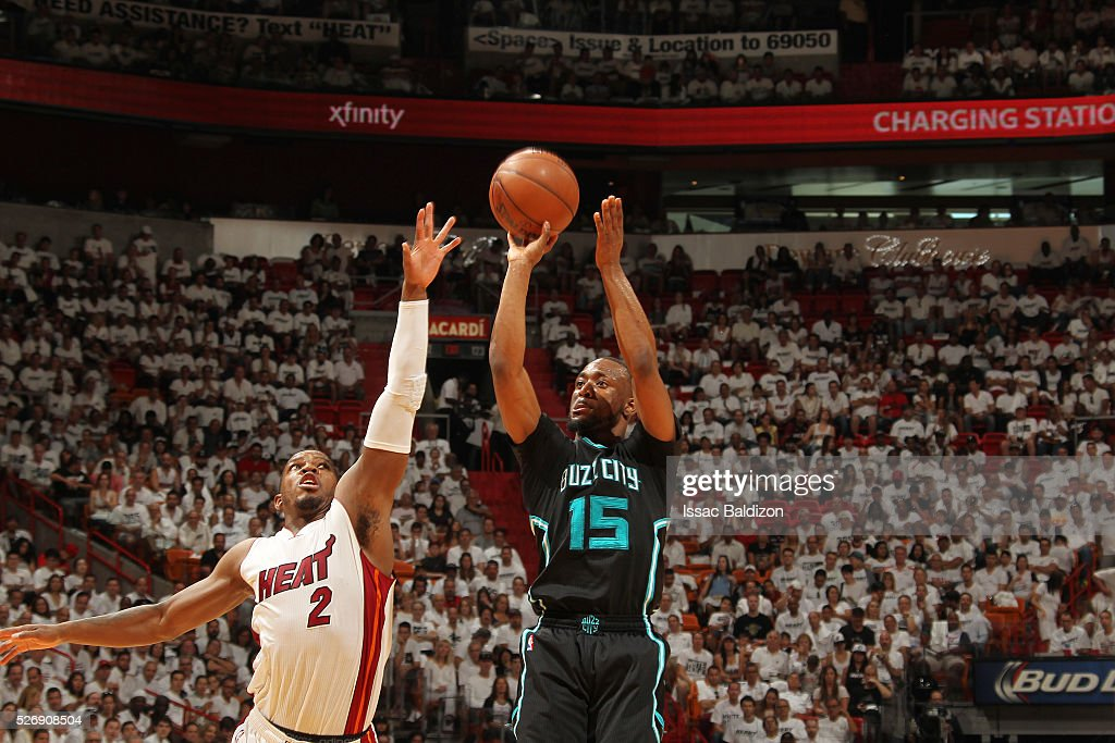 <a gi-track='captionPersonalityLinkClicked' href=/galleries/search?phrase=Kemba+Walker&family=editorial&specificpeople=5042442 ng-click='$event.stopPropagation()'>Kemba Walker</a> #15 of the Charlotte Hornets shoots the ball against the Miami Heat in Game Seven of the Eastern Conference Quarterfinals during the 2016 NBA Playoffs on May 1, 2016 at American Airlines Arena in Miami, Florida.