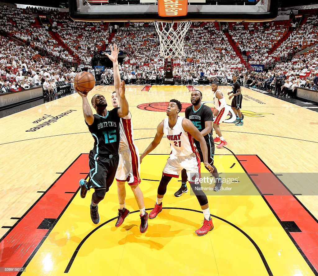 Kemba Walker #15 of the Charlotte Hornets shoots the ball against the Miami Heat in Game Seven of the Eastern Conference Quarterfinals during the 2016 NBA Playoffs on May 1, 2016 at American Airlines Arena in Miami, Florida.
